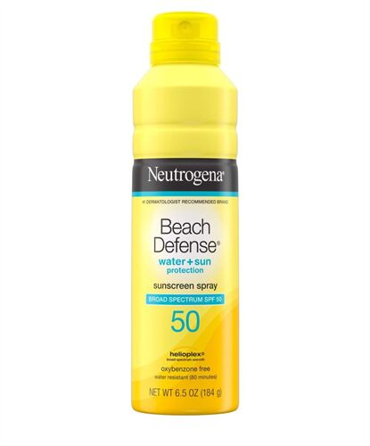 Xịt chống nắng Neutrogena Beach Defense® Water + Sun Protection Sunscreen Spray Broad Spectrum SPF 50 của Mỹ