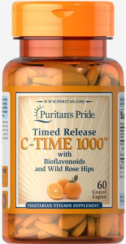 Vitamin C của Mỹ hộp 60 viên - Puritan's Pride Timed Release C-TIME 1000 with Bioflavonoids & Rose Hips