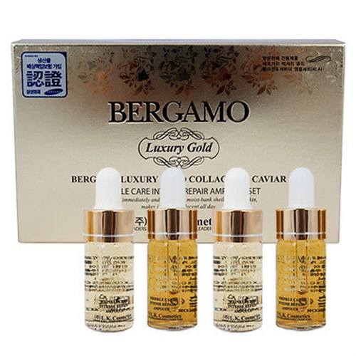 Serum Bergamo Luxury Gold Collagen & Caviar 4 lọ * 13ml của Hàn Quốc