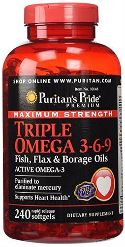 Puritan's Pride Maximum Strength Triple Omega 3-6-9 Fish, Flax & Borage Oils của Mỹ hộp 240 viên